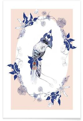 Magpie Bird Pink - Premium poster