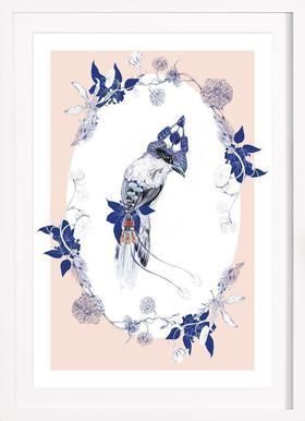 Magpie Bird Pink - Poster in Wooden Frame