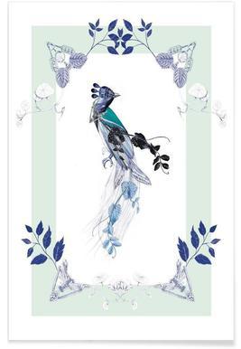 Magpie Bird Mint - Premium poster