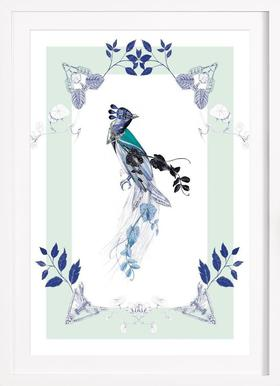 Magpie Bird Mint - Poster in Wooden Frame