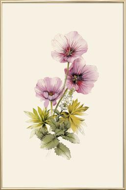 Geranium & Garden mint -Poster im Alurahmen