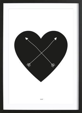 Heart affiche sous cadre en bois