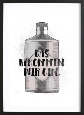 Gin - Poster in Wooden Frame