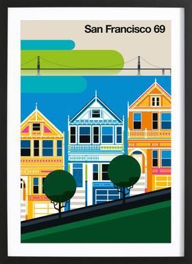 San Francisco 69 -Bild mit Holzrahmen