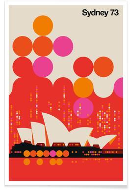 Vintage Sydney 73 rood poster