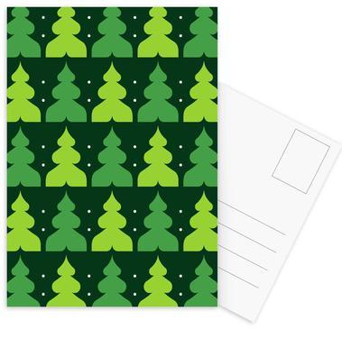 Green Christmas Forest -Postkartenset