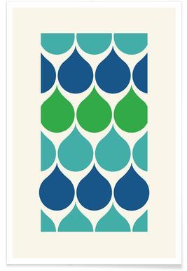 Gouttes de pluie bleues et vertes affiche