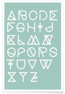 Geometrical ABC - mint - Premium Poster