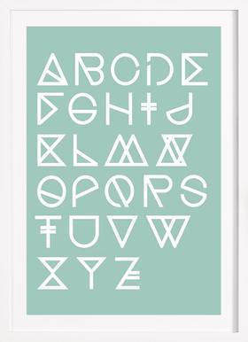 Geometrical ABC - mint - Poster im Holzrahmen
