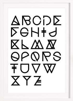 Geometrical ABC - white - Affiche sous cadre en bois