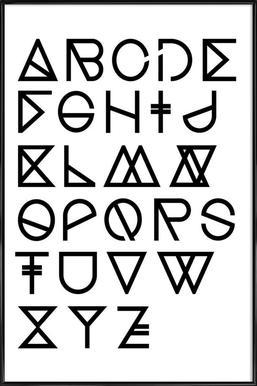 Geometrical ABC - white - Affiche sous cadre standard