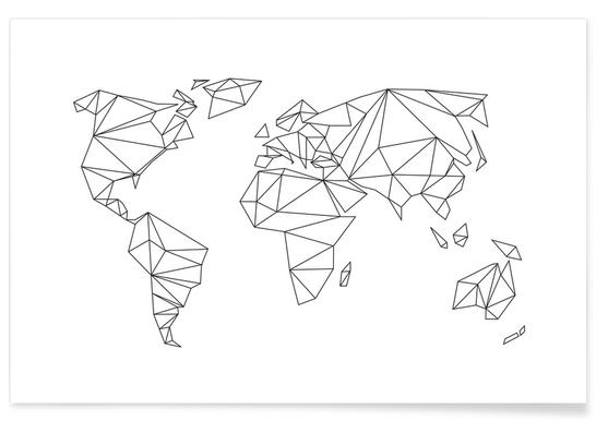 Geometrical World - white - Premium Poster