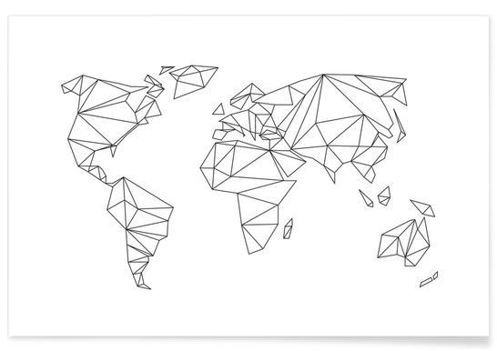 Geometrical World - white affiche