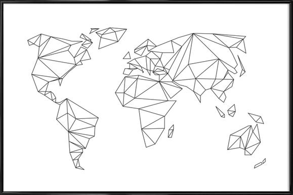 Geometrical World - white - Poster in kunststof lijst