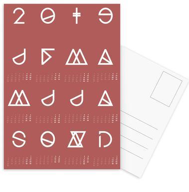 2019 Geometrical Calendar Marsala Postcard Set