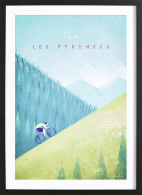 Les Pyrénées affiche sous cadre en bois