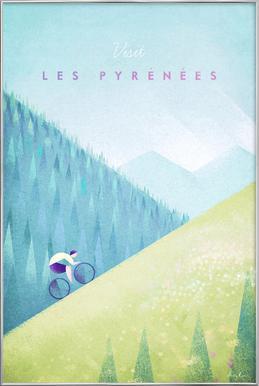 Les Pyrénées affiche sous cadre en aluminium