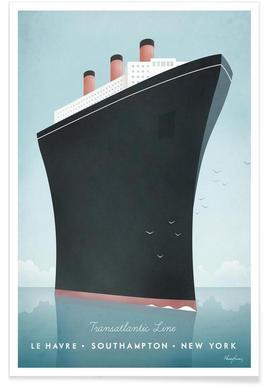 Vintage-Kreuzfahrtschiff-Reise -Poster