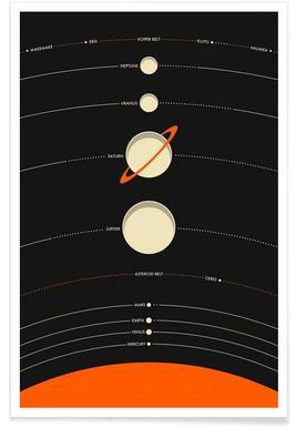 Solar System black poster