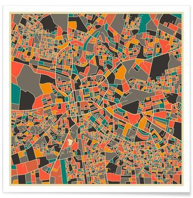 Lusaka, Zambia Colourful Map Poster