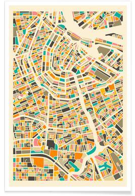 Amsterdam - kleurrijke kaart poster