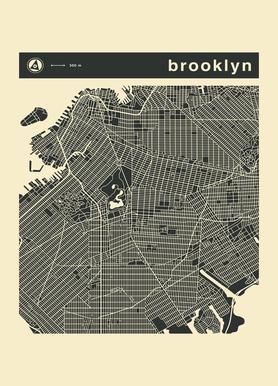 City Maps Series 3 Series 3 - Brooklyn Canvas Print