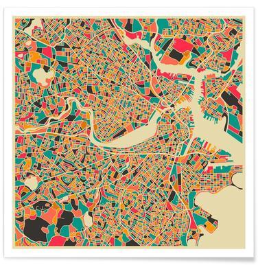 Bunte Boston-Stadtkarte -Poster