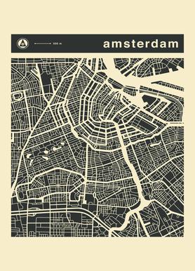City Maps Series 3 Series 3 - Amsterdam canvas doek