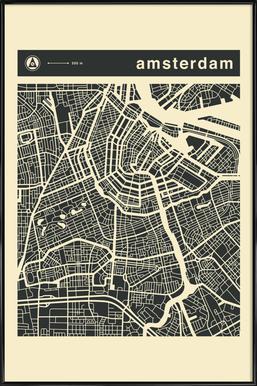 City Maps Series 3 - Amsterdam ingelijste poster