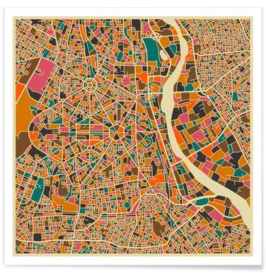 Bunte Neu Delhi-Stadtkarte -Poster