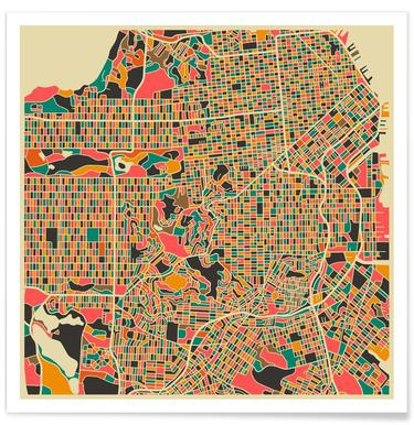 San Francisco - kleurrijke kaart poster