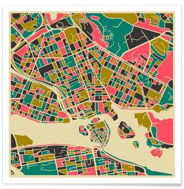 Bunte Stockholm-Stadtkarte -Poster