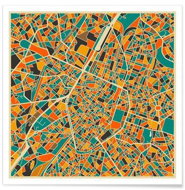 Bunte Brüssel-Stadtkarte -Poster