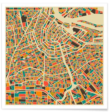 Bunte Amsterdam-Stadtkarte -Poster