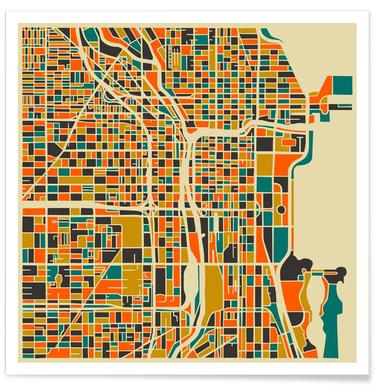 Chicago Colourful Map Poster