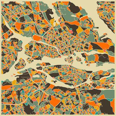 Stockholm Map Series 1 -Acrylglasbild