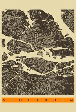 Stockholm Map Series 3 -Acrylglasbild
