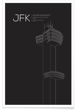 JFK New York Tower Black affiche