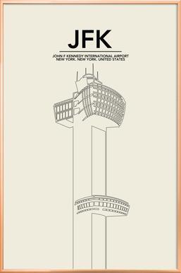 JFK New York Tower affiche sous cadre en aluminium