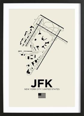 JFK Airport New York affiche sous cadre en bois