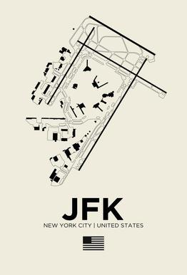 JFK Airport New York tableau en verre