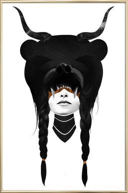 Bear Warrior poster in aluminium lijst