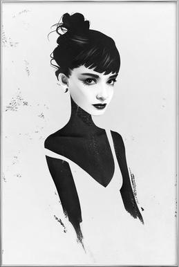 Oh, Audrey Poster in Aluminium Frame