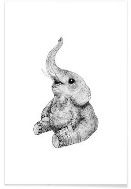 Baby Elephant Illustration Poster