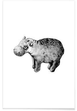 Baby Hippo Illustration Poster