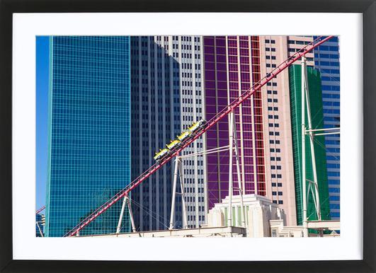 Achterbahn Vegas affiche sous cadre en bois