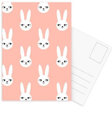 Easter Bunny Peach Postcard Set