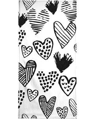Valentines B&W Bath Towel