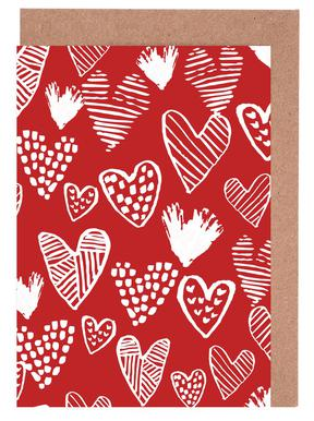 Valentines Red Greeting Card Set