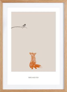 Bird And Fox - Poster in Wooden Frame